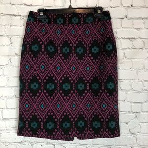Ann Taylor Blue Pink Aztec Pencil Straight Skirt